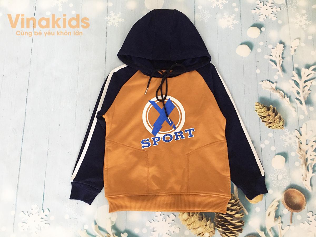áo bé trai hoodie sport thời trang màu vàng đất (8-12 tuổi)