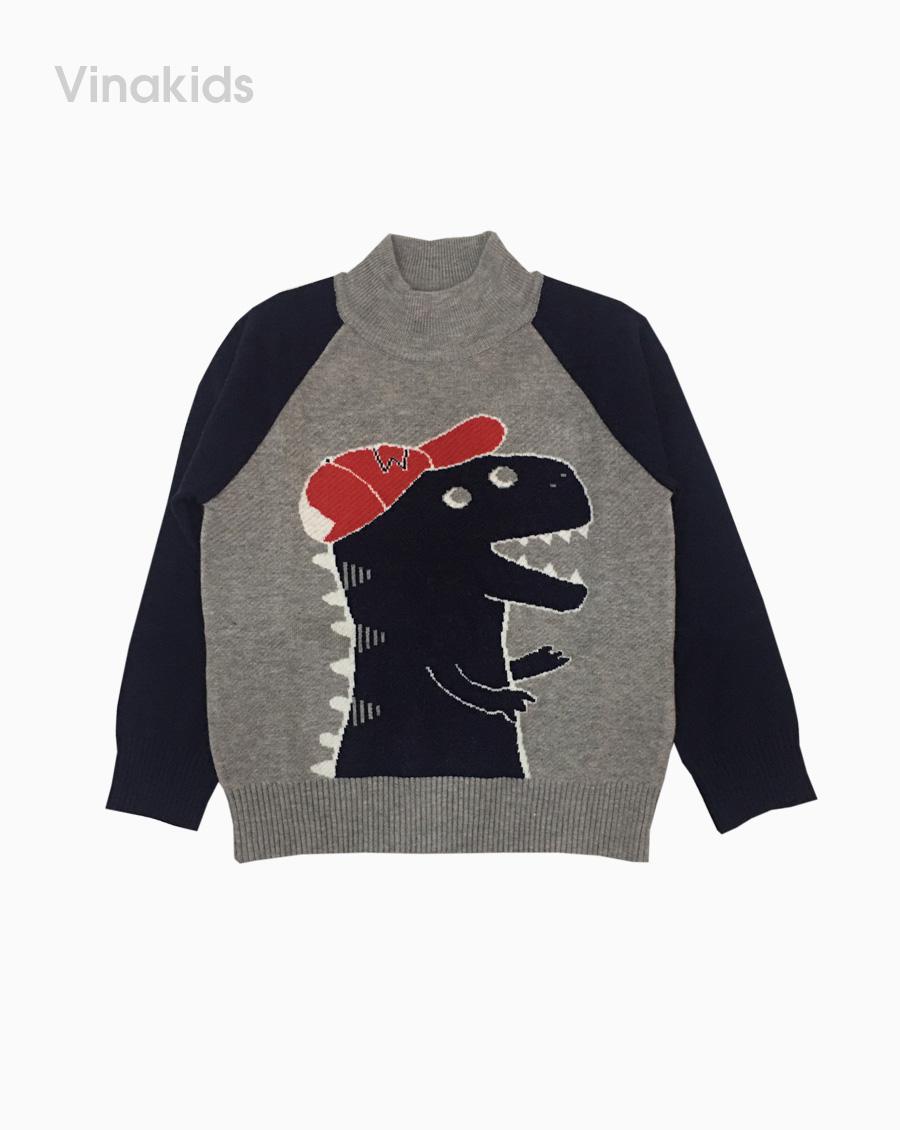 áo len bé trai cổ ba phân thêu khủng long màu xám (2-9 tuổi)