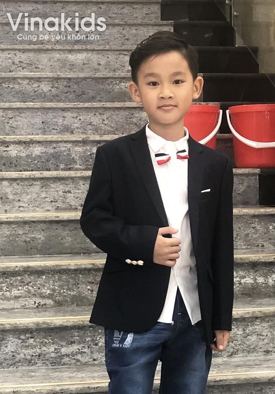 Áo vest bé trai họa tiết màu tím than (1-6 tuổi)