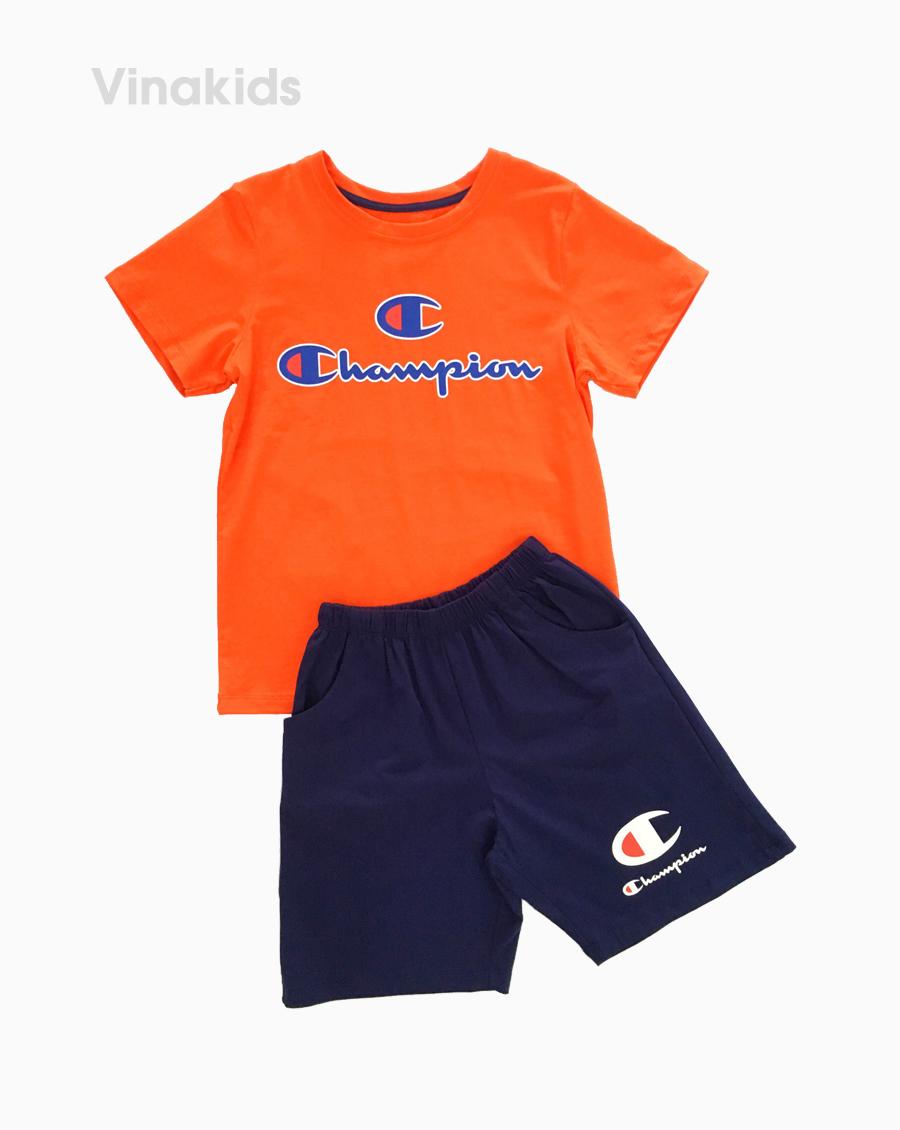 đồ bộ bé trai ngắn tay champion màu cam size 7-12 tuổi