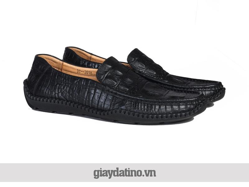 Giày lười da bò dập vân cá sấu mẫu mới sành điệu mẫu mới 2018