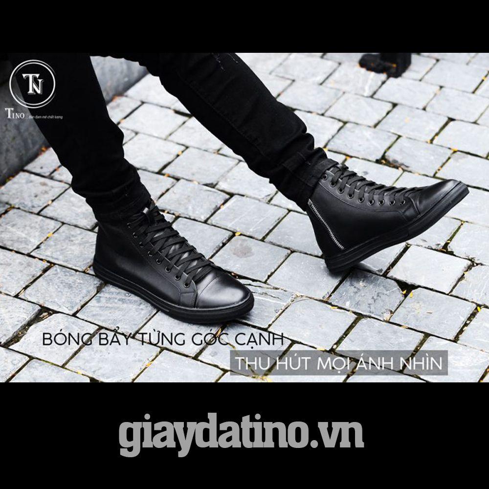 Giày sneaker da full đen mẫu giày đen đẹp da xịn