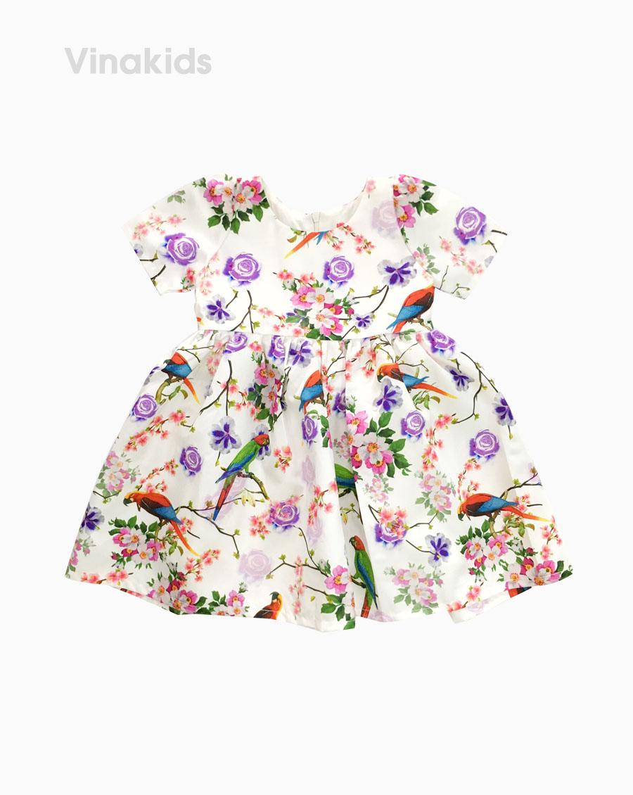 Váy bồng bé gái hình chim hoa lá (3-6 tuổi)
