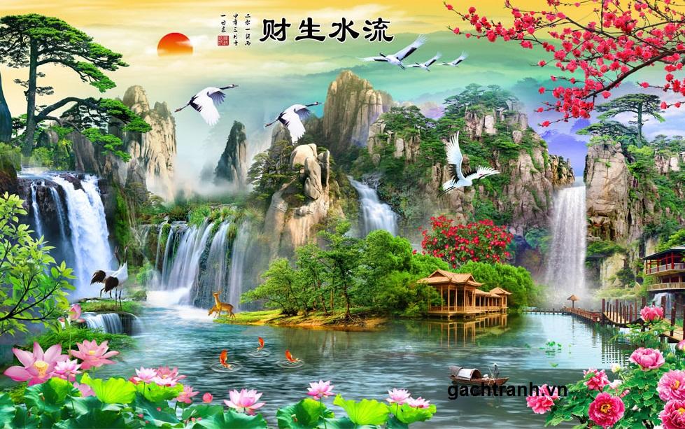 Tranh gạch 3d thác nước mùa hè