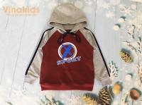 áo bé trai hoodie sport thời trang màu đỏ đô (8-12 tuổi)