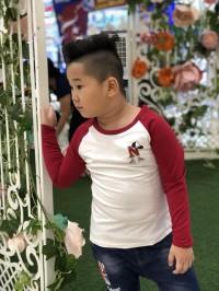áo bé trai vinakids chữ n màu trắng phối tay màu đỏ đô (9-14 tuổi)