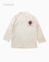 áo cổ ba phân bé trai nhện màu trắng (1-7 tuổi)