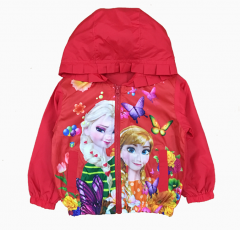 áo khoác gió bé gái công chúa elsa & anna màu đỏ (1-7 tuổi)