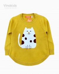 áo len bé gái mèo màu vàng size 2-10