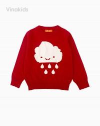 áo len bé gái thêu hình mây mưa màu hồng đỏ (1-4 tuổi)