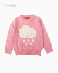 áo len bé gái thêu hình mây mưa màu hồng phấn (1-4 tuổi)
