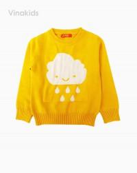 áo len bé gái thêu hình mây mưa màu vàng (1-4 tuổi)