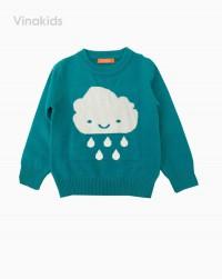 áo len bé gái thêu hình mây mưa màu xanh (1-4 tuổi)ao-len-be-gai-theu-hinh-may-