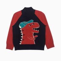 áo len bé trai cổ ba phân thêu khủng long màu tím than (2-9 tuổi)