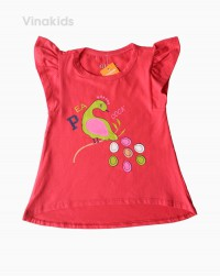 áo thun bé gái cánh tiên hình chim cook màu đỏ (1-6 tuổi)