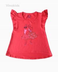 áo thun bé gái canh tiên hình hai cô gái màu đỏ (6-10 tuổi)