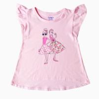 áo thun bé gái cánh tiên hình hai cô gái màu hồng (6-10 tuổi)