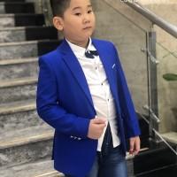 áo vest bé trai cao cấp màu xanh (7-11 tuổi)