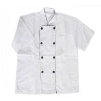 Bán áo bảo hộ lao động bếp trắng viền đen nam cộc tay tại thanh hóa