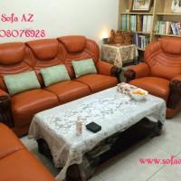 Bọc ghế sofa da bò khung gỗ nhà chị thảo quận 7