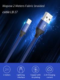 Cáp sạc iphone wopow lightning dây dù 2000mm (lb17)