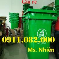 Cung cấp thùng rác 120l, 240l giá sỉ- xe gom rác 660l giá rẻ- màu xanh, nắp kín