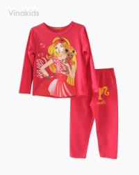 đồ bộ bé gái barbie màu hồng đào size nhí