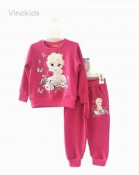đồ bộ bé gái da cá màu hồng sen size 3-7