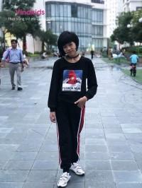 đồ bộ bé gái dáng thể thao hình cô gái màu đen (7-14 tuổi)