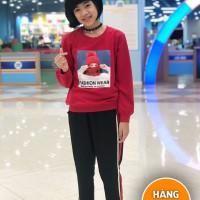 Đồ bộ bé gái dáng thể thao hình cô gái màu đỏ (7-14 tuổi)