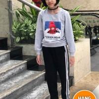 đồ bộ bé gái dáng thể thao hình cô gái màu ghi (7-14 tuổi)