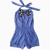 đồ bộ bé gái liền thân đính nơ màu xanh (4-8 tuổi)