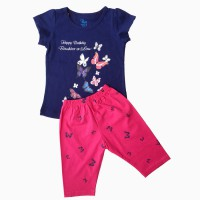 đồ bộ bé gái ngắn tay hình bướm màu tím than (1-7 tuổi)