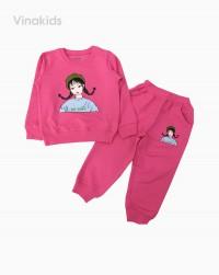 đồ bộ bé gái nỉ da cá hình cô gái màu hồng (7-12 tuổi)
