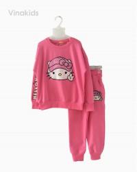 đồ bộ bé gái thêu đắp kitty màu hồng (7-13 tuổi)