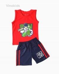 đồ bộ bé trai ben 10 quần sọc đứng màu đỏ (1-7 tuổi)
