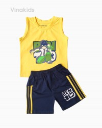 đồ bộ bé trai ben 10 quần sọc đứng màu vàng (1-7 tuổi)