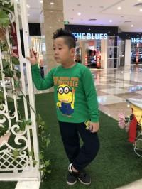 đồ bộ bé trai minions màu xanh lá (1-7 tuổi)