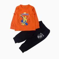 đồ bộ bé trai dài tay siêu nhân mạng nhện màu cam (1-7 tuổi)