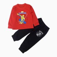 đồ bộ bé trai dái tay siêu nhân mạng nhện màu đỏ (1-7 tuổi)