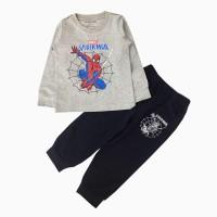 đồ bộ bé trai dài tay siêu nhân mạng nhện màu ghi (1-7 tuổi)