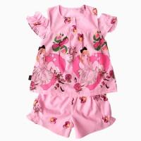 đồ bộ boil bé gái hở vai hình cô gái màu hồng size 1-6 tuổi