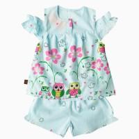đồ bộ boil bé gái hở vai hình con cú màu xanh size 1-6 tuổi