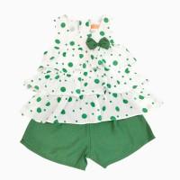 đồ bộ đũi bé gái 3 tầng màu xanh (2- 7 tuổi)