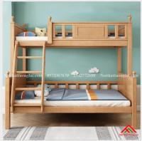 Giường tầng gỗ đẹp chân cao cho bé