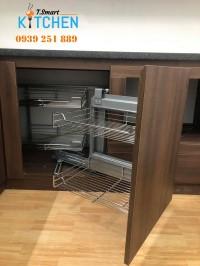 Kệ góc liên hoàn 4 rổ trái phải vô cùng tiện lợi cho tủ bếp dưới