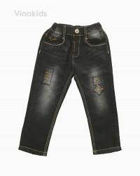 Quần jeans dài bé trai cúc khóa màu đen 22126 (7-11 tuổi)