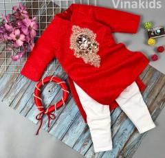 Sét 3 chi tiết áo dài gấm cách tân bé gái hoa đính kim sa màu đỏ (2-14 tuổi)