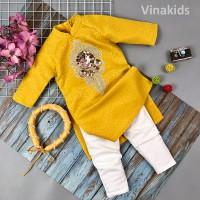 Sét 3 chi tiết áo dài gấm cách tân bé gái hoa đính kim sa màu vàng (2-14 tuổi)