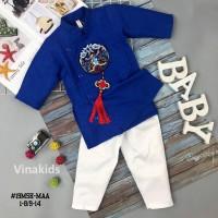 Set áo dài gấm bé trai họa tiết thêu đắp phối dây kèm quần màu xanh (2-14 tuổi)